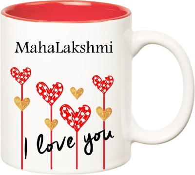 Huppme I Love You Mahalakshmi Inner Red  (350 ml) Ceramic Mug