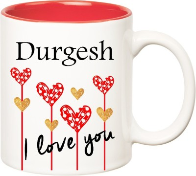 Huppme I Love You Durgesh Inner Red  (350 ml) Ceramic Mug