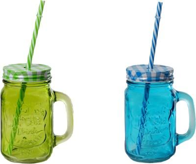 DUCATI Designer Colorful Mason Jar Glass Mug
