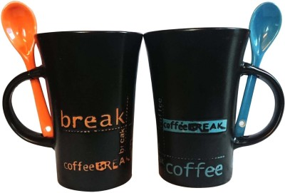 Dharmaraj Links Coffees Ceramic Mug(150 ml, Pack of 2)