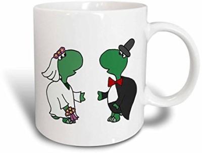 3dRose Funny Turtle Bride and Groom Wedding Art Ceramic , 11 oz, White Ceramic Mug