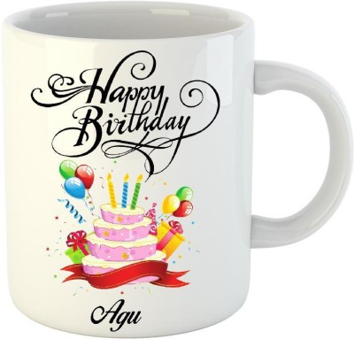 Huppme Happy Birthday Agu White  (350 ml) Ceramic Mug