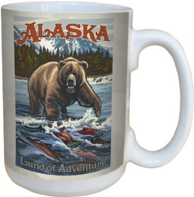 Tree-Free Greetings Greetings lm43108 Vintage Alaska Grizzly Bear with Salmon by Paul A. Lanquist Ceramic  with Full-Sized Handle, 15-Ounce, Multicolored Ceramic Mug