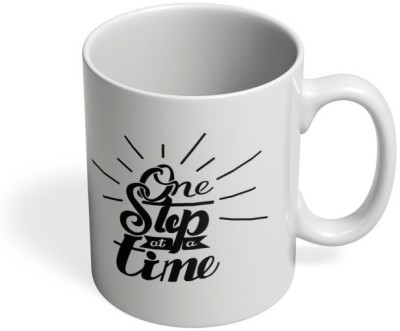 PosterGuy One Step At A Time Mark, Quote, Motivational, Hand lettering, Lettering, Art, Typography, IPhone Case, Step, Time, Amazing Ceramic Mug
