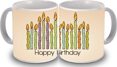Print Hello Happy Birthday Set of Two Cake 120 Ceramic Mug