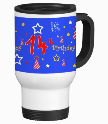Sajawat Homes 14th Happy Birthday White Travel Stainless Steel Mug