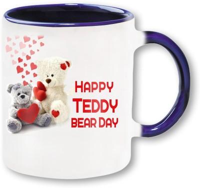 Heyworlds Happy Teddy Bear Day 01 Blue Ceramic Mug