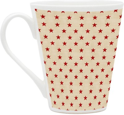 HomeSoGood Stars In Perfect Position Pattern Latte Ceramic Mug