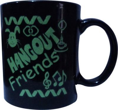 swadesibuyzzar Hangout Friends Black Colour  Ceramic, Bone China Mug