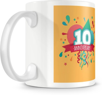 posterchacha Happy 10 Th Anniversary Party Balloon White Tea And Coffee To Give As Anniversary Gift To Loved One Bone China Mug
