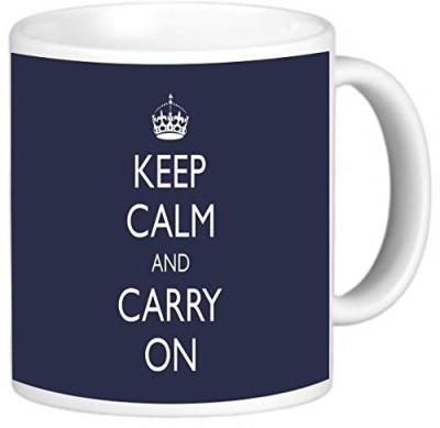 Rikki Knight LLC Knight Photo Quality Ceramic Coffee , 11 oz, Keep Calm and Carry On, Blue Ceramic Mug