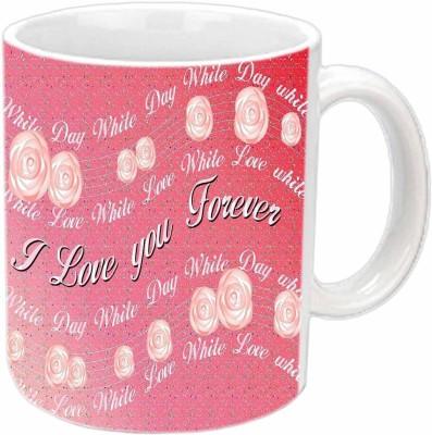Jiya Creation Red Roses Valentine White  Ceramic Mug