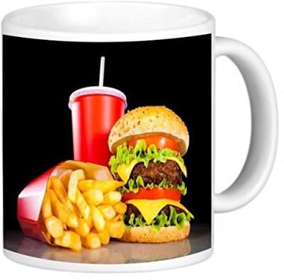 Rikki Knight LLC Knight Photo Quality Ceramic Coffee , 11 oz, Burgers and Coke Ceramic Mug