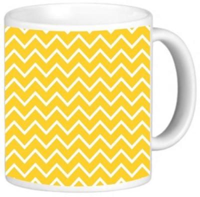 Rikki Knight LLC Knight Photo Quality Ceramic Coffee , 11 oz, Deep Yellow Zig Zag Stripes Ceramic Mug