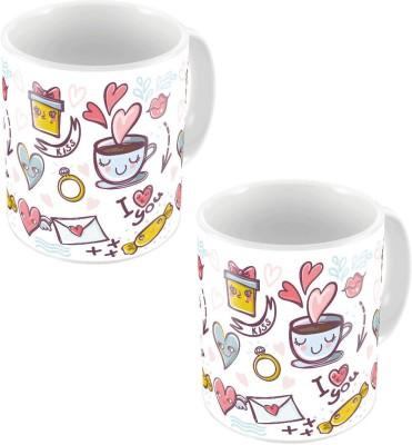 Indiangiftemporium White Designer Romantic Printed Coffee s Pair 638 Ceramic Mug