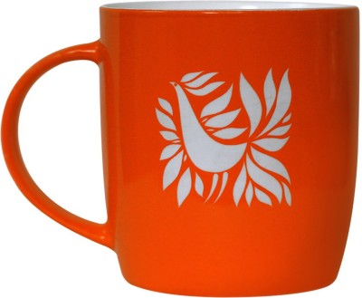 Studio Pandora Orange Feathers Ceramic Mug
