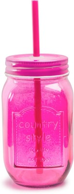 Chumbak Pop Of Pink Mason Jar With Straw Glass Mug