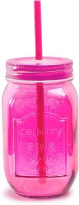 Chumbak Pop Of Pink Mason Jar With Straw Glass Mug(450 ml) at flipkart