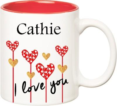 Huppme I Love You Cathie Inner Red  (350 ml) Ceramic Mug