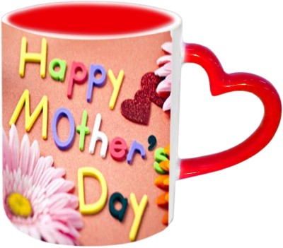 Jiya Creation1 Happy Mother,s day With heart & Flowers Red Heart Handle Ceramic Mug