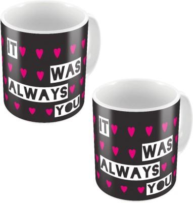 Indiangiftemporium Designer Romantic Printed Coffee s Pair 766 Ceramic Mug