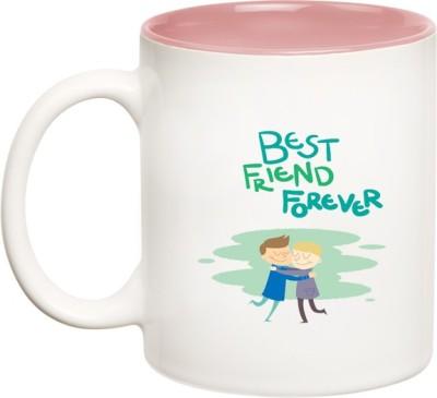 Huppme BFF Best Friend Forever Inner Pink  Ceramic Mug