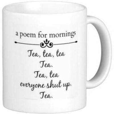 G&G Morning Poem For Tea Funny Ceramic Mug