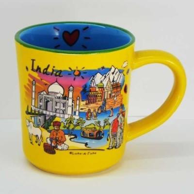 India Souvenirs Stoneware 10 Oz Yellow  with Puffy India Subway Design Porcelain Mug