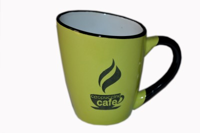 MGPLifestyle Cappuccino Café Coffee  in Sky Blue, Green, Orange Color Ceramic Mug