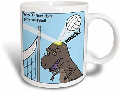 3dRose Why T-Rex Does Not Like Volleyball Ceramic , 15 oz, White Ceramic Mug