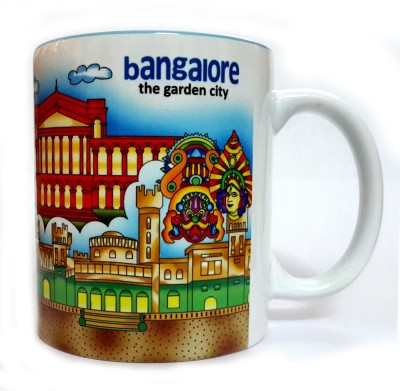 Indiavibes Printed Ceramic Coffee Tea  with Bangalore Theme Ceramic Mug