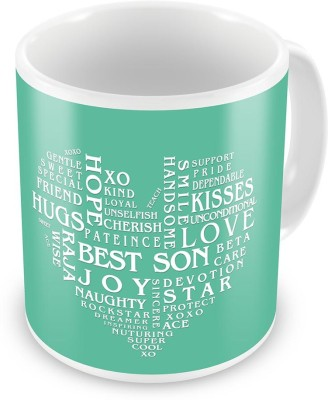 Indian Gift Emporium Heart Shape Words Collection Coffee  For Son 519 Ceramic Mug