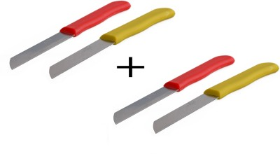 Chef Pro Fruit and Vegetable Stainless Steel Set of 4 Multi-utility Knife(Yellow, Red)