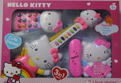 Aryash Highbrow Creation Hello Kitty 3 In One Musical Guitar Telephone & Mobile