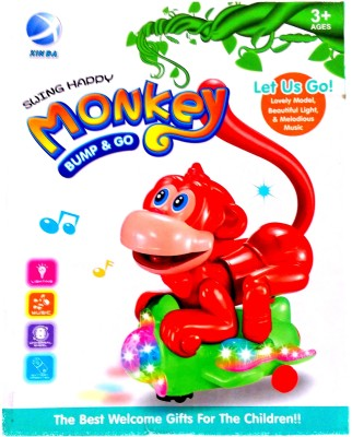 RIANZ Musical, Light & Dancing Monkey toy with Swinging Tail & Universal Wheel for Kids