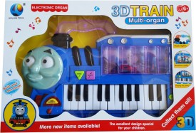 Vaibhav Train Rotation Cycle Learn Musical Playing 3D Piano With Flash Light Toy(Blue)