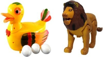 Turban Toys combo of Funny Duck Lays Eggs with Lion Light & Sound Battery Operated Toy