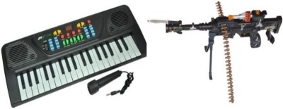 Dinoimpex Phoenix Melody Piano with Mic and Parv Collections Sports Musical Gun (Black) Combo