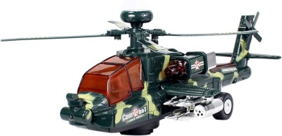 Planet of Toys Bump & Go Military Toy Helicopter Music Lights