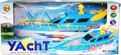 VENUS-PLANET OF TOYS BATTERY OPERATED YACHT WITH LIGHT AND MUSIC , BUMP & GO ACTION