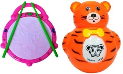 Turban Toys Combo Of Musical Flash Drum & Baby Tumbler Music Animal Roly-Poly Toy