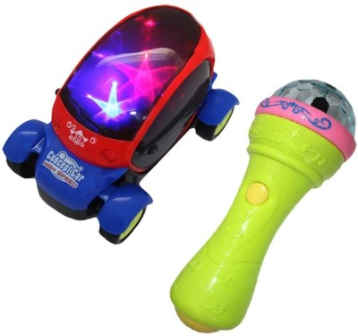 Turban Toys combo of Battery Operated 3D LED Light Car & Handheld Mike