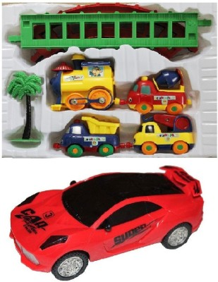 New Pinch Musical Car 3D Lights with Battery Operated play Train(Multicolor)