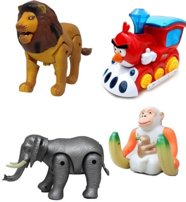 Noorstore Lion & Elephant, Monkey with Train Battery Operated Toy Animal
