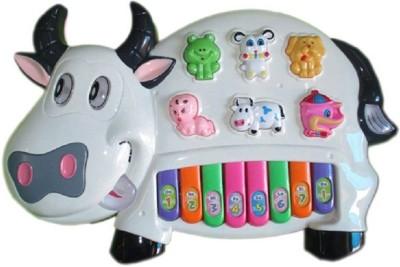 zaprap Multicolor Plastic Musical Cow Piano For Kids