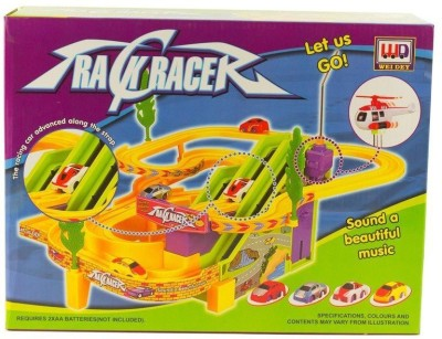 GoMerryKids Track Racer with Advanced Racing Car along with Strap, Beautiful Music and Flying Helicopter
