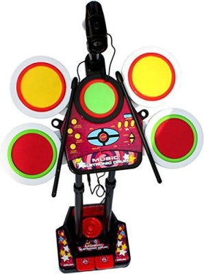 Dinoimpex Fun Electronic Junior Jazz Drum Beat Set With Mp3 Plug-In + Microphone + Pedal Mechanism + Adjustable Heights