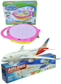 A M Enterprises Musical Drum and Plane with Lighting Effects(Multicolor)