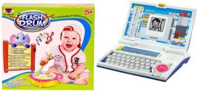 Dinoimpex English Learner Laptop for Kids 20 Activities and Peng Zhan Flash Drum Combo
