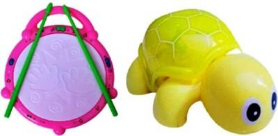 Turban Toys Combo Of Flash Drum & Mini Tortoise For Kids